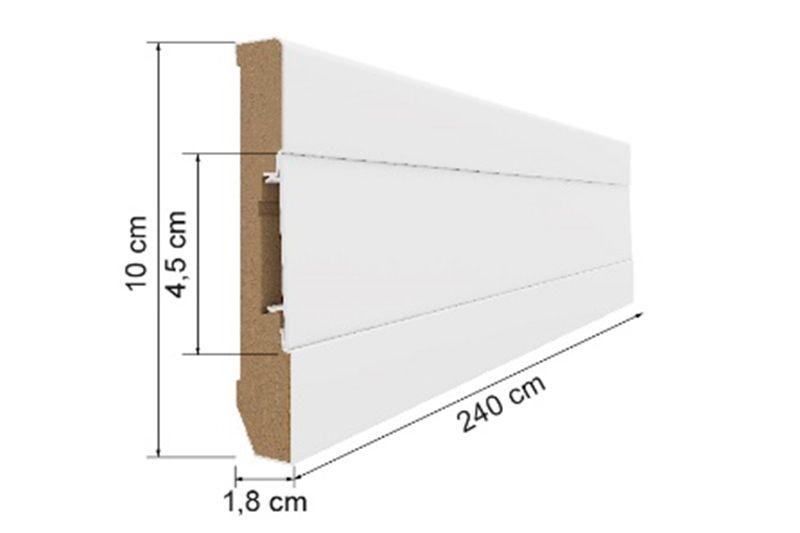 Kablo Kanallı MDF Süpürgelik 10cm White 100 E401_40003614